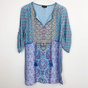 TOLANI Elora Mixed Print Embroidered Tunic Top S